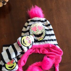 Emoji sequin flippy hat and gloves